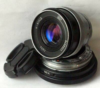 Contax RF Mount to Sony NEX, A7 E-Mount Adapter + FAST Black Lens Industar-61