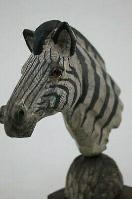 Vintage Hand Carved Painted Wood Zebra Bust Head Sculpture Glass Eyes Realistic