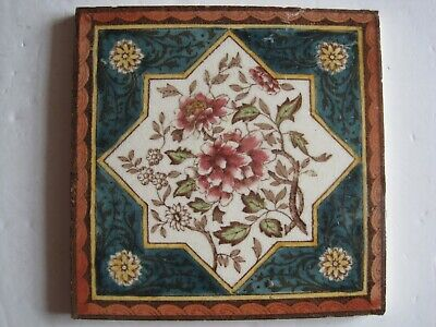 Antique Victorian  Print & Tint Aesthetic Floral Tile
