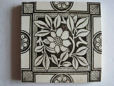 Antique Victorian Aesthetic Black & Grey Floral/Fans Transfer Print Tile