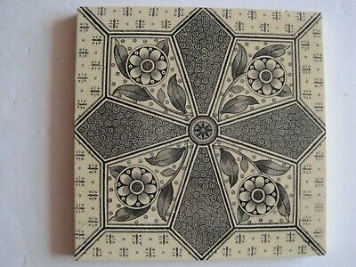 Antique Victorian Aesthetic Transfer Print Tile - T & R Boote C1880 - 1910