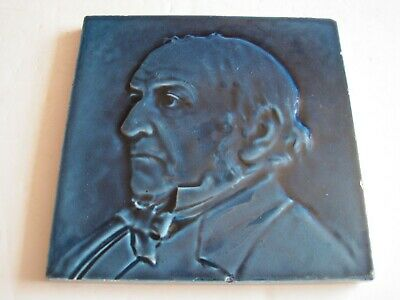 Antique Victorian J C Edwards Moulded Blue Majolica Glazed Gladstone Tile