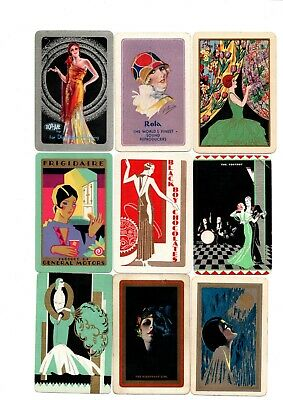 """9 x RARE VINTAGE """"Art Deco Lovely Ladies SINGLE Playing Cards #07"""