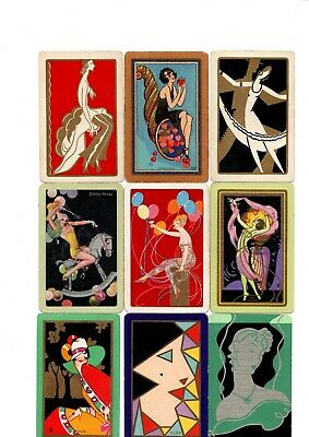 """9 x RARE VINTAGE """"Art Deco Lovely Ladies SINGLE Playing Cards #08"""