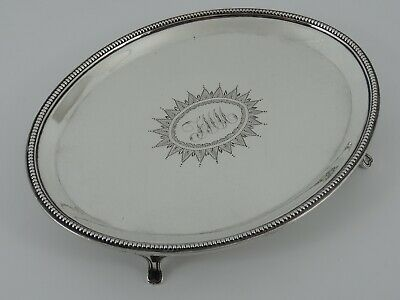 Superb Georgian George Iii Solid Sterling Silver Card Tray Salver London 1791