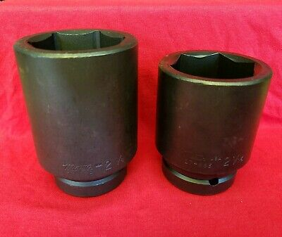 "1 Lot 2 New Martin Tools Deep Impact Sockets 2-1/8 & 2-1/16 1"" Drive 6 Pts Black"