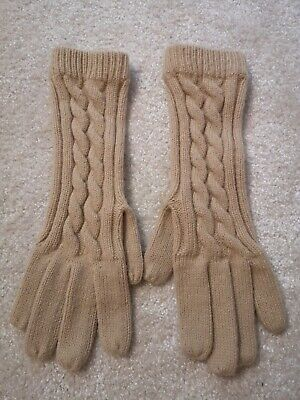 Vintage St Michael M&S Beige Beeswax Colour Slouch Winter Gloves One Size