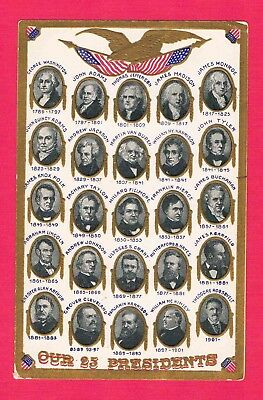 Our 25 Presidents 1789 Washington to 1901 Theodore Roosevelt Photo Post Card