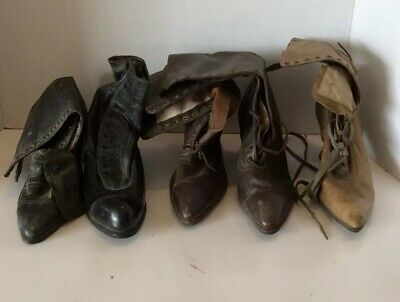 Early 1900's Vintage Antique Victorian Shores Unmatched 5 single shoes