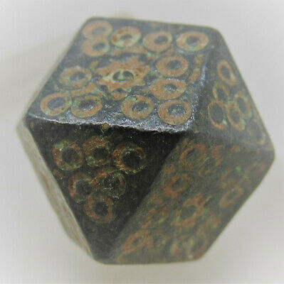 Byzantine Bronze Polygonal Weight With Ring And Dot Motifs
