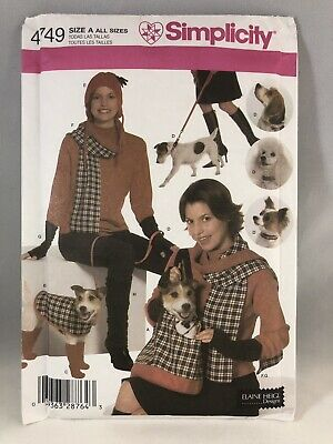 Simplicity 4749 Sewing Pattern Cute Misses' And Dog Accessories Size A UNCUT