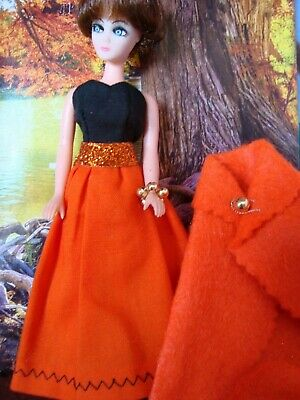 Topper Dawn doll OUTFIT FALL FESTIVAL  dress with CAPE  and purse and HAT boots