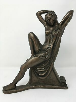 Sculpture by Paul Jenkins Cold Cast Bronze Statue Naked Lady Signed