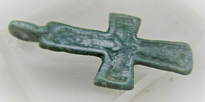 Ancient Byzantine Cross Pendant With Saint Depiction Wearable Artefact
