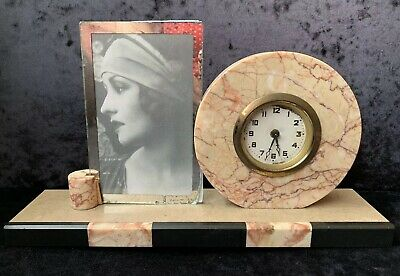 Original French Art Deco Marble Clock Photo Frame - Good Working Order