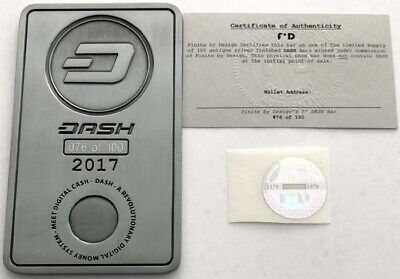 Dash Bitcoin Physical Bar #76/100 Unfunded Coin with COA Crypto BTC Digital Cash