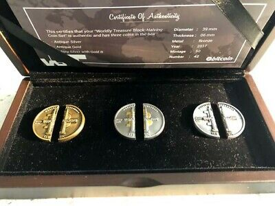 Bitcoin Halving 3 Coin Set #42/50 VERY RARE BTC Coin Set from 2017 COA & BOX
