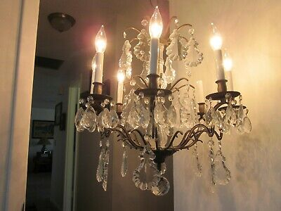 Antique Vintage Crystal and Brass 8 arm 3 tier Spanish/ French? Chandelier