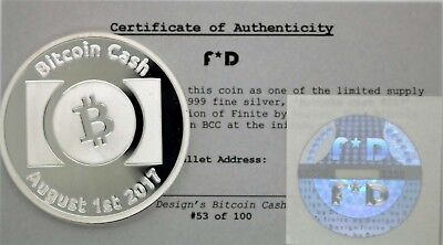 Bitcoin Cash HARD FORK .999 Silver Physical Bitcoin #53/100 Unfunded Coin BTCC