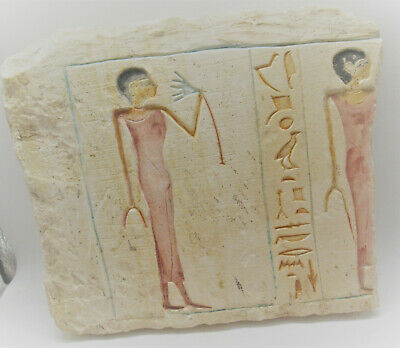 Circa 1000-500Bce Ancient Egyptian Limestone Relief Panel Section Extremely Rare