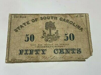 1863 U.S. State Of South Carolina Fractional Note Fifty Cents