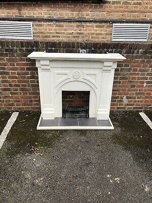 Solid Wooden Fireplace Surround With Burner, Grate And  Slate Tiled Hearth.