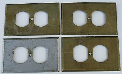 4 Stamped Antique Brass Wall Electric Outlet Switch Plate Cover 040 USA