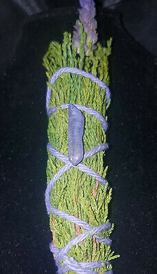 "Juniper & Lavender Incense Smudge Stick 4-5"" +Lavender Quartz, Blessings, Reiki!"