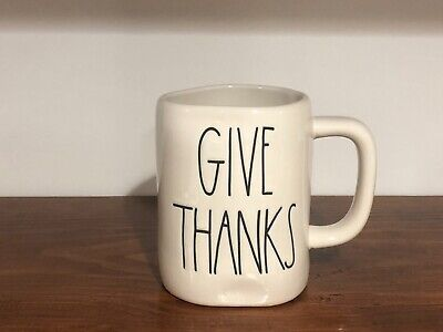 Rae Dunn Artisan Collection By Magenta GIVE THANKS Ivory Large Letter Mug