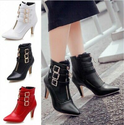 Sexy Women Ankle Boots Buckle Zip 8cm Kitten Heel Pointy Toe British Party Shoes