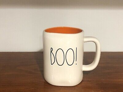 Rae Dunn Halloween By Magenta LL BOO! Orange interior Farmhouse Mug