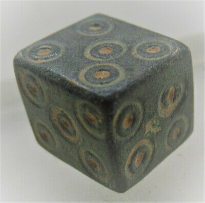 Circa 300Ad Ancient Roman Bronze Cubic Gaming Piece With Ring And Dot Motifs