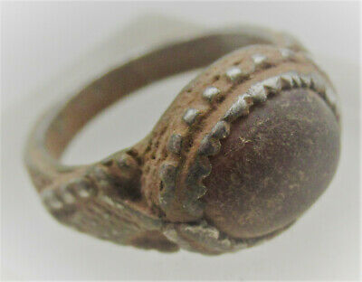 Late Roman Early Byzantine Silver Ring With Red Stone Inset Very Nice