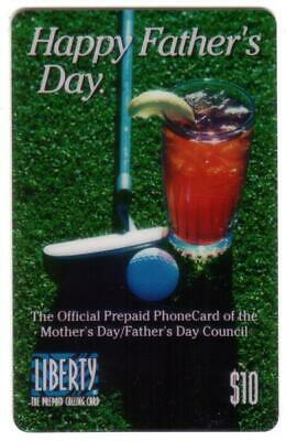 $10. Happy Father's Day. Golf Club & Golf Ball & Drink 1995 SPECIMEN Phone Card