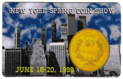 5m New York Spring Coin Show (06/99) Skyline, Twin Towers, $50. Gold Phone Card