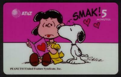 Snoopy Card-A-Month: #5 Snoopy Kissing Lucy. Valentine's Day SPECIMEN Phone Card