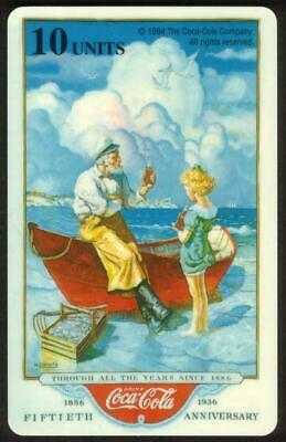 10u Coke: 1936 Anniversary Calendar With Old Man, Young Girl & Boat Phone Card