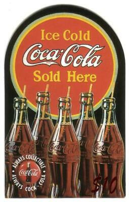 Coca-Cola '95 $10. Top-Rounded Die-Cut: 5 Coke Bottles 'Sold Here' Phone Card