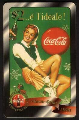 Coca-Cola '96 $2. Woman Ice Skater (1956) Coke Card #46 of 48 Gold Phone Card