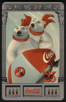 Coke National '96 $25. Polar Bears In Sled (Card #10 of 10) Silver Phone Card