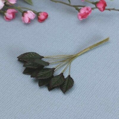 36 Mini Green/Brown Rose Leaves Perfect For Floral & Arts & Crafts ETC