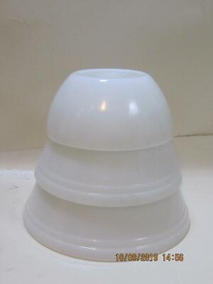 3 Vintage white federal glass nesting Mixing Bowls F Shield mark