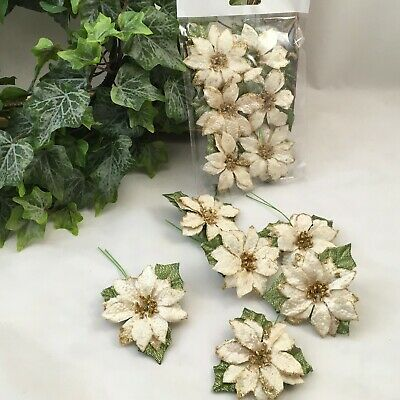 6 Ivory Artificial Glitter Poinsettia Perfect For Floral & Arts & Crafts