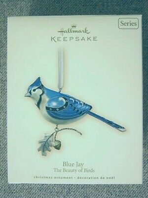 "Very Nice 2007 Hallmark ""Blue Jay"" Ornament; #3 In Beauty of Birds Series"