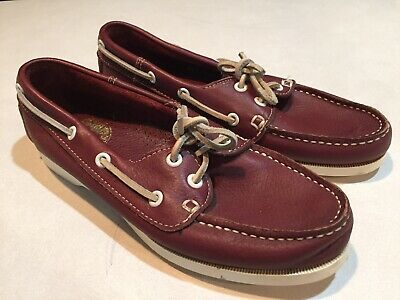 Vtg 80s 90s Boat Shoes Women 7.5 Soft Leather Maroon Preppy Great Lakes Trading