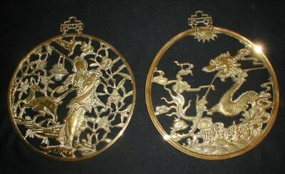 Vintage 1950s/60s Heavy Brass Asian Round Wall Hangings~Deer & Geisha & Dragon S