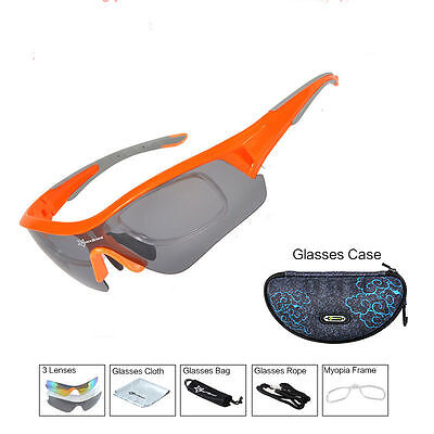 ROCKBROS Polarized Cycling Glasses Sport Sunglasses Myopia Eyewear Orange New