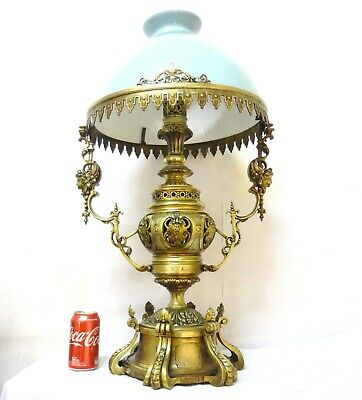 Magnificent 31´´ Antique Huge Big 30 Lbs Napoleon Iii Table French Bronze Lamp