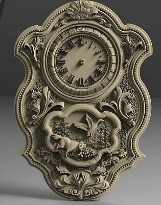 3D STL model # WALL CLOCK HUNTING # for CNC 3D Printer Engraver Carving Aspire