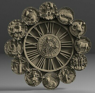 3D STL model # WALL CLOCK ZODIAC SIGNS # for CNC 3D Printer Engraver Carving
